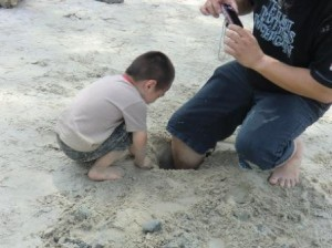 Burying his father's leg